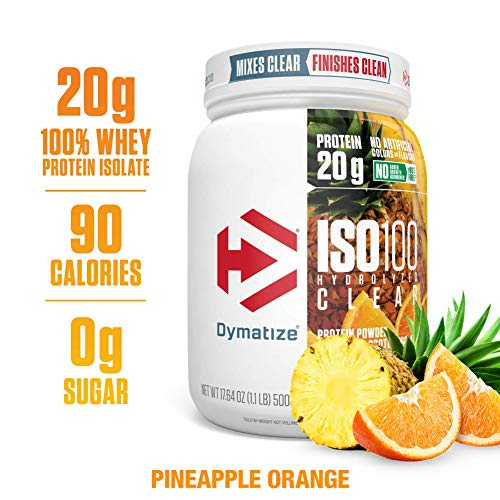 Dymatize ISO 100 Hydrolyzed Clear Protein Powder, Clear 100% Whey Protein Isolate, Keto Friendly, Clear Easy Mixing While Being Light & Refreshing, Pineapple Orange, 1.1 lbs