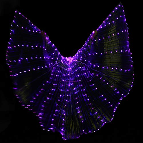 KT Mall Women LED Light Isis Wings Belly Dance Costumes Halloween Shows Luminous Prop Dancing Supplies Props Open 360 Degrees (No Sticks Battery),Purple