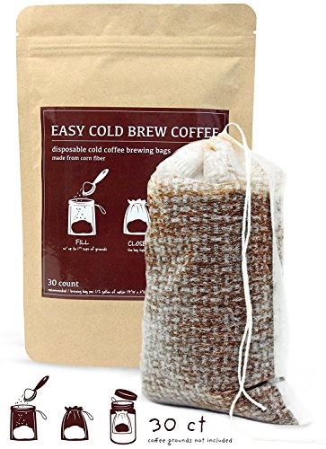 No Mess Cold Brew Coffee Filters - Easy, Single Use Filter Sock Packs, Disposable, Fine Mesh Brewing Bags for Concentrate, Iced Coffee Maker, French/Cold Press Kit, Hot Tea in Mason Jar or Pitcher (Glass Stones Milk)