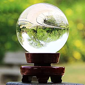 Sumnacon® Clear Crystal Ball - Meditation Sphere Ball- Divination & Interpretation Sefirot Crystal Ball - Decor Photography Ball with Free Wooden Stand and Gift Box (100mm / 3.94 in Diameter)
