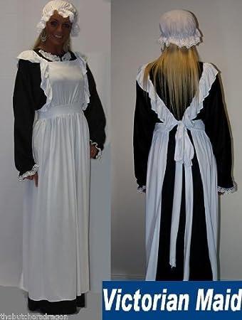 Victorian Maid Hat Pinafore u0026 Dress Size 12-16 Fancy Dress Costume Traditional Edwardian UK  sc 1 st  Amazon UK & Victorian Maid Hat Pinafore u0026 Dress Size 12-16 Fancy Dress Costume ...