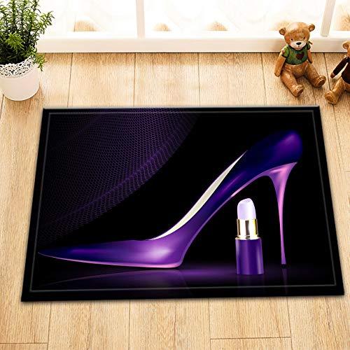 ZZ7379SL Zapatos morados y pintalabios Alfombra de bano impresion Digital 3D Sala de Estar Dormitorio Cocina ninos Accesorios de bano