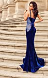 Velvet Mermaid Evening Gown - Sexy Formal Lace Velvet Long Mermaid Blue Evening Prom Dress