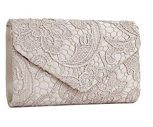 Bolso bolso satén mujer encaje de Beige dulce cartera de mano estilo fiesta de con SYMALL elegante para mano SnW1RRg