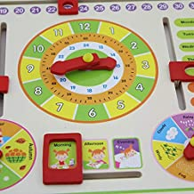 Urnanal Early Education Learning Clock, Multi-Functional Training Learning Clock Calendar Board Toy for Early Childhood Education