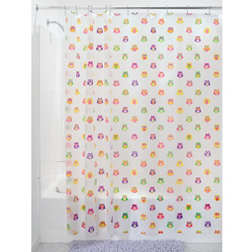 InterDesign Owlz Shower Curtain - PVC Free , 72 x 72, Pink/Purple