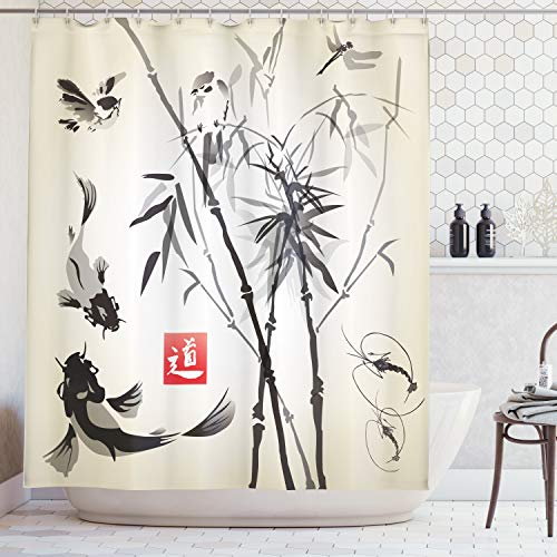 Fabric Asian Oriental - Ambesonne Japanese Shower Curtain, Artistic Birds Fishes and Bamboo Leaves Abstract Painting Oriental Style, Cloth Fabric Bathroom Decor Set with Hooks, 70 Inches, Black Gray Ivory