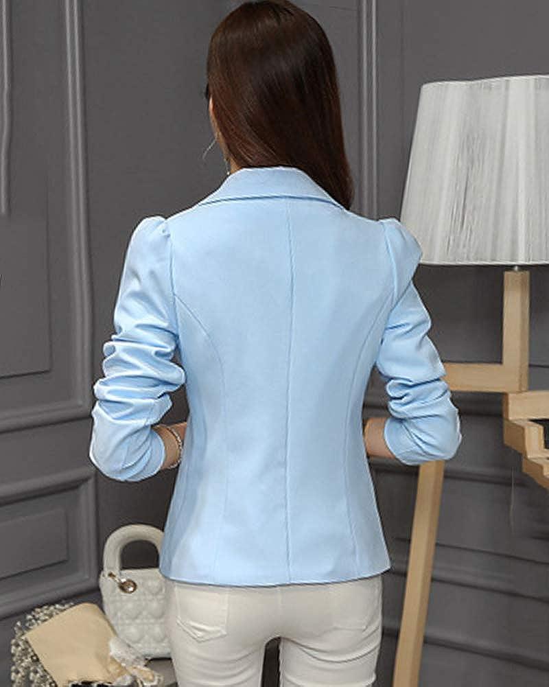 Quge Donna Casuale Monopetto Slim Fit Maniche Lunghe Blazer Affari Elegante Signora Tailleur Giacchino Giacca