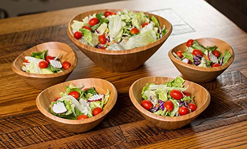 Bowl Bamboo Set - BirdRock Home Bamboo Salad Bowl Set | Set of 5 | Wooden Stackable Bowls for Salad, Pasta, Fruit | Kitchen Bowl Set