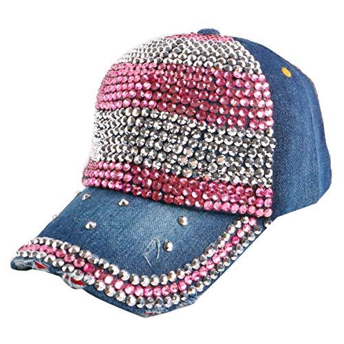 野球帽 ラインストーンのクリスタル デニムキャップ 女性 ヒップホップ帽子,NO.5カラー,サイズ56-60 cm,15歳から大人まで