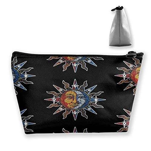 sport outdoor 003 Celestial Mosaic Sun Moon Trapezoidal Makeup Pouch Storage Bag Card Package Handbag Wallet
