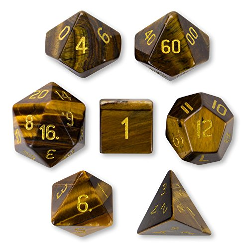 Wiz Dice Set of 7 Handmade Stone 16mm Polyhedral Dice with Velvet Pouch (Tiger's Eye)
