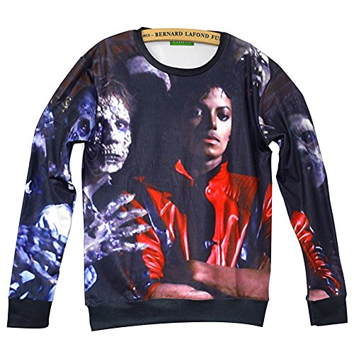 Unisex Swag 3D Sweater Michael Jackson Thriller Sweatshirt T Shirts (M)