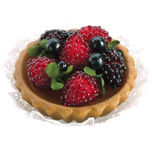 3'' Artificial Raspberry & Blueberry Tart -Natural (pack of 18) by SilksAreForever