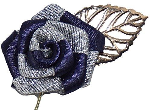 Flairs New York Gentleman's Essentials Premium Handmade Flower Lapel Pins (Pack of 1 Pin, Prussian Blue / Silver [Gold Leaf])