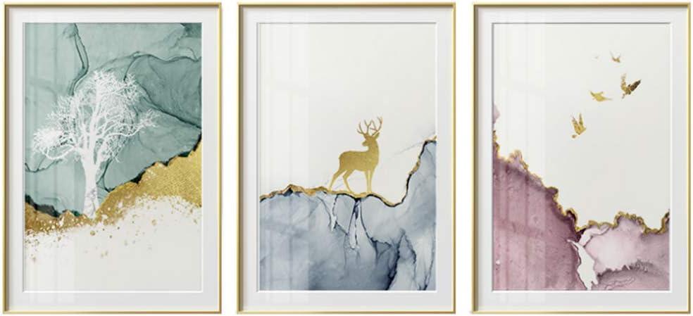 Ciervos dorados abstractos en el bosque lienzo pintura carteles e impresión moderna decoración cuadros de arte de pared para sala de estar dormitorio-50x70cm sin marco