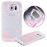 Samsung Galaxy S7 Edge case,Crosstree Liquid, Appmax Cool Quicksand Moving Stars Bling Glitter Floating Dynamic Flowing Case Liquid Cover for galaxy s7 edge (New Pink Heart)