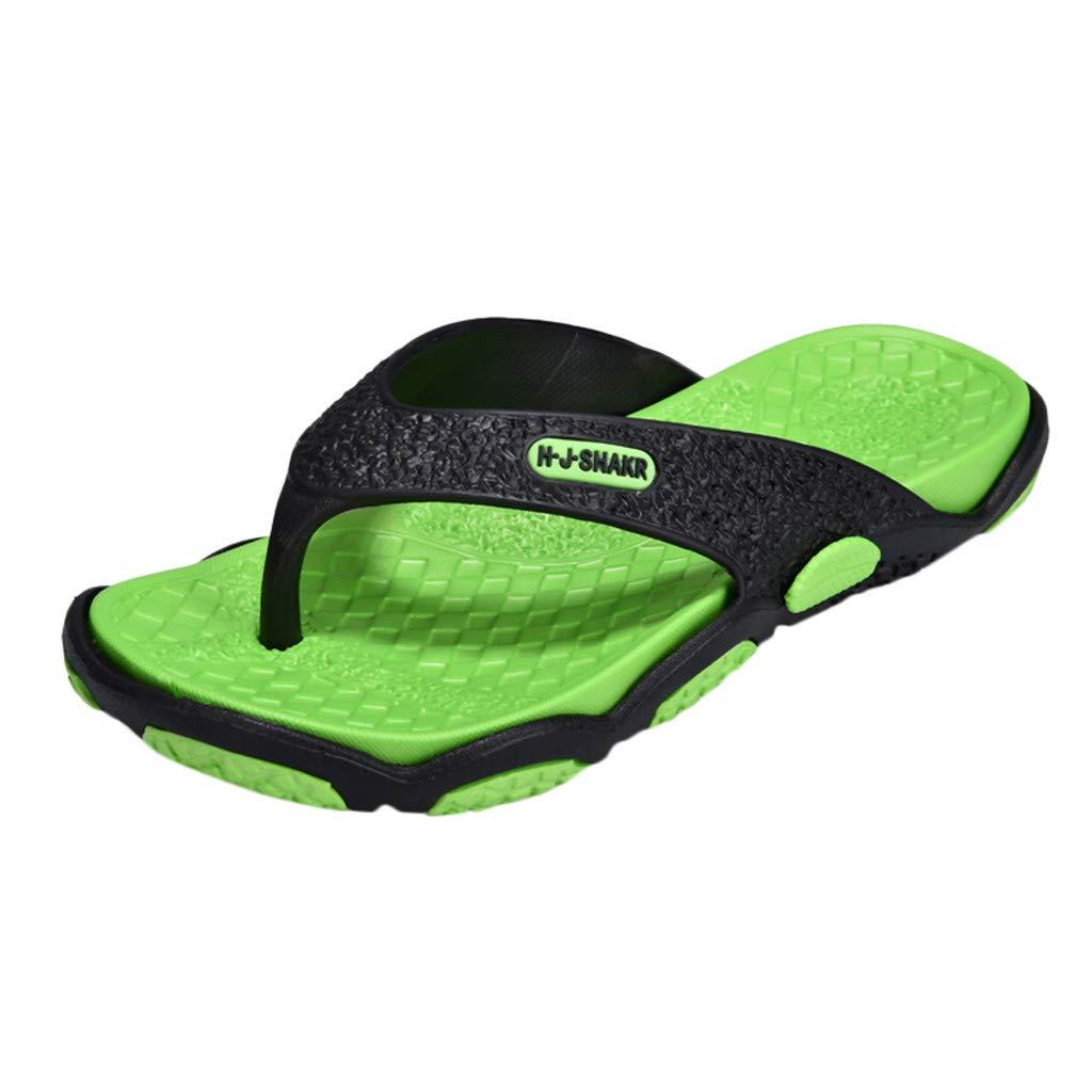KESEELY Summer Men's Open Toe Slippers Fashion Beach Shoes Massage Bathroom Round Head Flip Flops Beach Casual Slippers Green