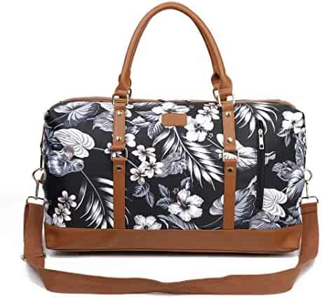 d4501689fd Ulgoo Travel Tote Bag Carry On Shoulder Bag Overnight Duffel in Trolley  Handle (Flower-