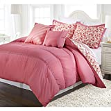 4 Piece Twin Coral Pink Ruched Comforter Set, Reversible Bedding, Fancy Luxury Bedding, French Country Style, Modern Pattern for Master Bedrooms, Flower Embroidery, Light Pink, Red and white