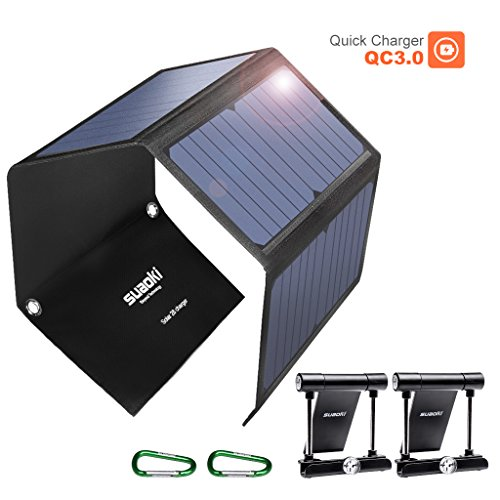 SUAOKI Portable Solar Charger 28W Sunpower Foldable Solar Panels 3-port USB Phone Charger with QC 3.0 Quick Charging for Cell Phone iPhone iPad Samsung Laptop Tablet and more by SUAOKI