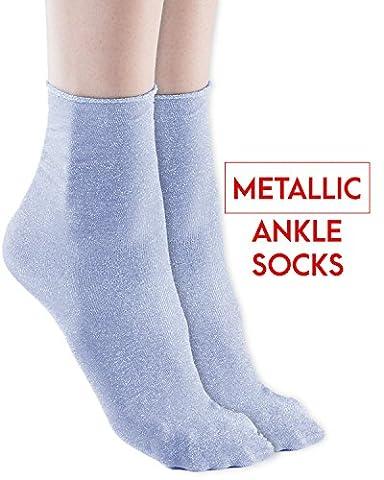 Trasparenze Womens Metallic Shimmery Ankle Dress Socks, Verbena, Shiny, Cielo - Womens Shimmer