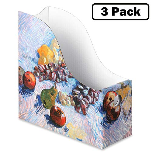 Sturdy Cardboard Magazine Holders, Folder Holders (3 Pack, Still Life with Fruit), Stunning Impressions Design, Magazine Organizer, Folder Organizer, Office and School Supplies by Dunwell