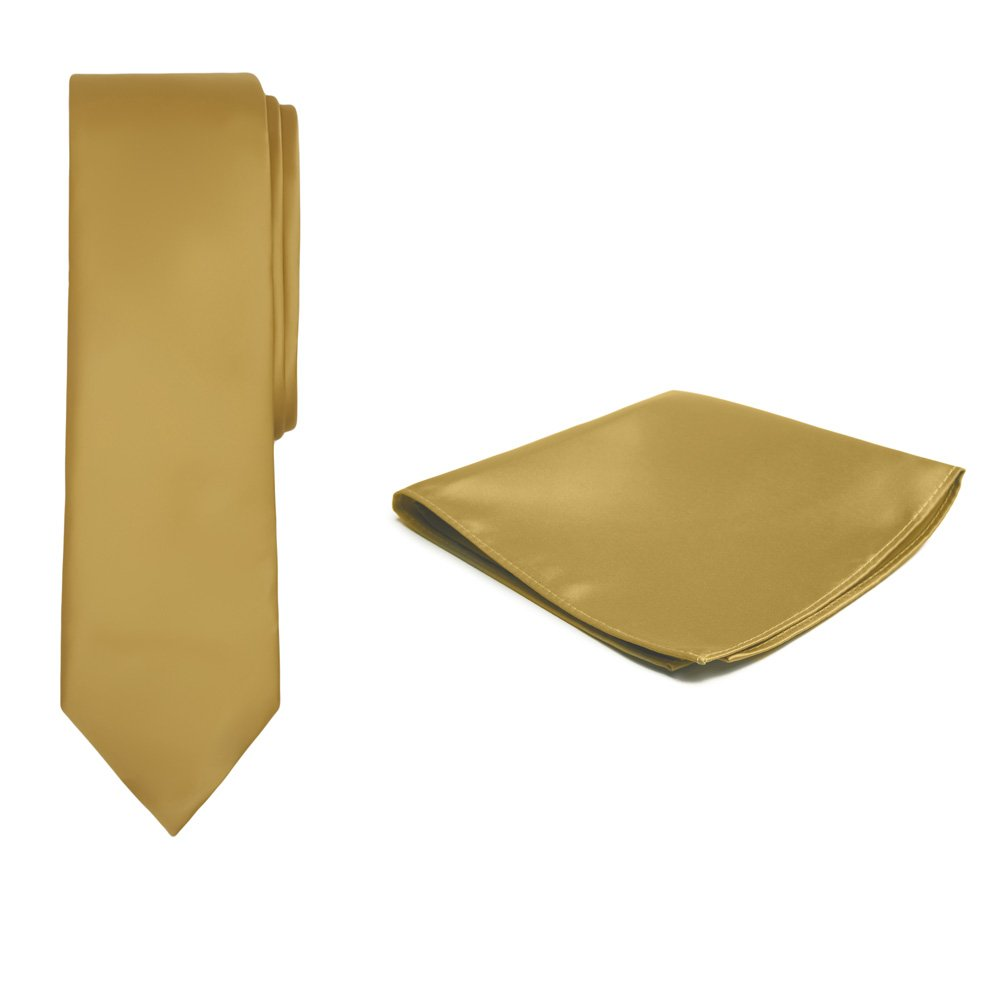 Jacob Alexander Solid Color Boy's Regular Tie and Hanky Set - Gold by Jacob Alexander (Image #1)