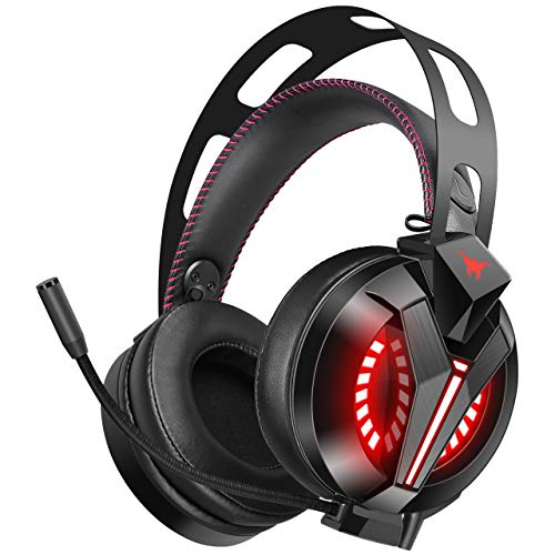 COMBATWING Lightning II Gaming Headset Noise-Cancelling Mic&7.1 Surround Sound, Advanced Lightweight Headphones Memory Earmuffs, LED Light, Mic/Volume Control PS4, Xbox One, PC, Switch