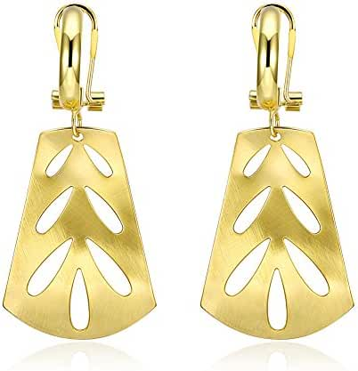 Drop Earrings,18k Gold and Rhodium Plated Sterling Silver Dangle Hook Earrings,Wedding Brides Pierced Earrings