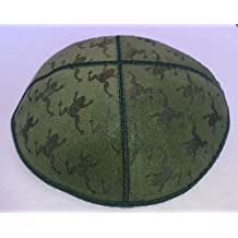 Gift Idea for Pesach - Dark Green Suede Kippah with Embossed Design of Frogs, Yarmulkes with Hebrew Symbol Embossed on Kippah for Passover, Frogs on Kippot for Leil Seder