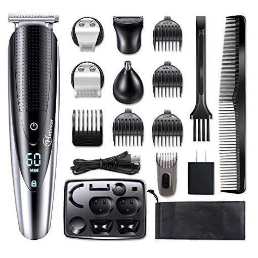 hatteker mens beard trimmer grooming kit hair trimmer mustache trimmer body groomer trimmer for nose ear facial hair cordless waterproof 5 in 1 - 51gplrm2CJL - Hatteker Mens Beard Trimmer Grooming kit Hair trimmer Mustache trimmer Body groomer Trimmer for Nose Ear Facial Hair Cordless Waterproof 5 In 1