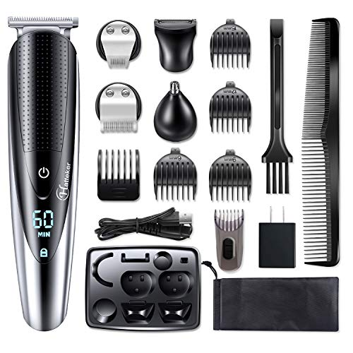 Hatteker Mens Beard Trimmer Grooming kit Hair trimmer Mustache trimmer Body groomer Trimmer for Nose Ear Facial Hair Cordless Waterproof 5 In 1 (Mens Beard And Body Trimmer)