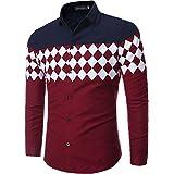 jeansian Men's Slim Button Down Long Sleeves Dress Shirts Tops 84N2