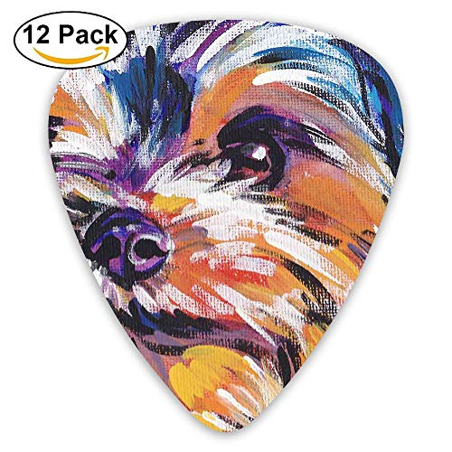 12-pack Fashion Classic Electric Guitar Picks Plectrums Shaggy Dog Head Painting Instrument Standard Bass -
