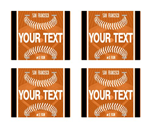 BRGiftShop Customize Your Own Baseball Team San Francisco Set of 4 Square Beverage Coasters (Giants Francisco San Coaster)