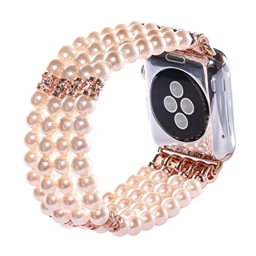 Apple Watch Band 42mm, Elastic Stretch Faux Pearl Watch Band Bracelet Handmade iWatch Strap for Apple Watch Series 2/Series 1 (42mm, Gold)