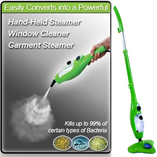 Gatycallaty Floor/Hand-Held Steam Mop Duster; Steam Cleaner For Carpet/Window/Garment/Hard Wood/Tile/Pet;Multifunctional Steamer Cleaning Machines (5-in-1 Accessories & 3 Microfiber Pads ) (Green) (H20 Hand Held Steamer)