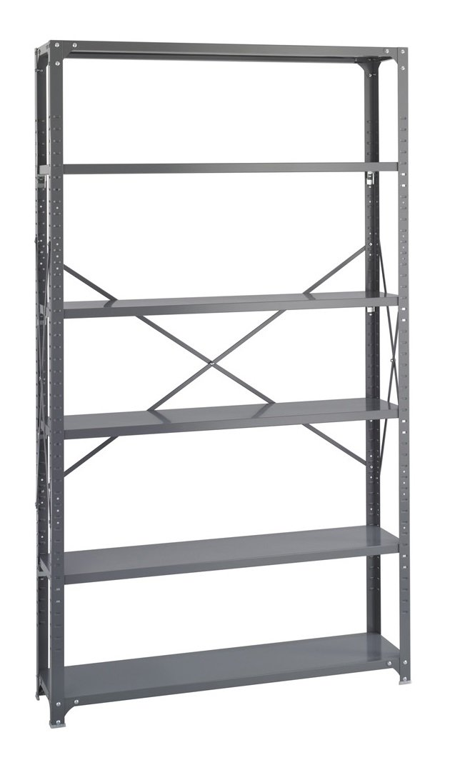 Safco Products 6251 Industrial Shelving 48''W x 12''D Shelves, (Qty. 6) Kit with 6256 Industrial Shelving Post Frame, Gray