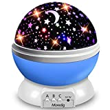 Starry Night Light Projector, Moredig 360 Degree Rotating Star Lamp Projector Galaxy with 8 Color Light Modes, for Kids Baby Bedroom Decoration- Blue