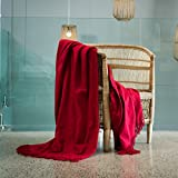Haven & Earth Decorative Throw Blanket for Couch or Bed, Paprika Red MELODY PLAIN(60''x 80'')