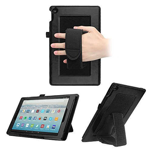 Fintie Case for All-New Fire HD 10 - [Dual Stand Supports] Premium PU Leather Back Cover Protector w/Detachable Hand Strap Holder Stand for Amazon Fire HD 10.1 Tablet (7th/5th Gen), Vintage Black