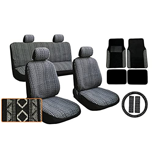 17pc Premium Black White Baja Inca Weaved Front Rear Car Truck SUV Seat Cover Set Includes Plush Carpet Matching Floor Mats Steering Wheel Covers And