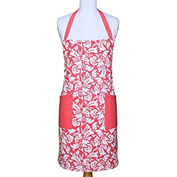 Yourtablecloth Kitchen Apron for Women and Men 100% Cotton, Adjustable Size, 2 Side Pockets-Preferred Choice for Chef Aprons & Ideal for Home Chefs too-be it Baking, Cooking, Barbecuing-Pink