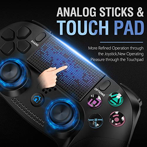 Controller per PS4, Gamory Controller Wireless Gamepad Joystick per PlayStation 4/ PS4 Slim/ Pro/ PS3, Controller Touch Panel con Doppia Vibrazione a Sei Assi e Audio