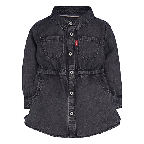 Levi's Baby Girls' Long Sleeve Fitted shirtdress, Jet Black, 18M