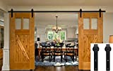 Hahaemall Antique Rustic 12 FT/144'' J-Shape Sliding Barn Wood Door Hardware Heavy Bearing Flat Tracks Double Doors Kit