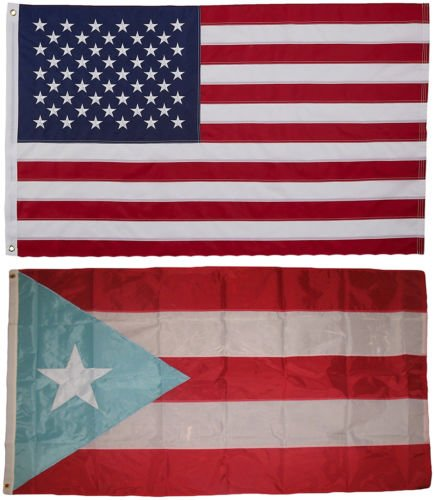 Moon USA and Puerto Rico Light Flag 3x5 EMBROIDERED 2 double