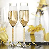 Crystal Champagne Glasses by Vindi Design. Unique Gold Leaf Stem Toasting Flutes. Lead Free Champagne Flutes. Set of 2 + Gift Box, Black. Perfect Wedding Gift