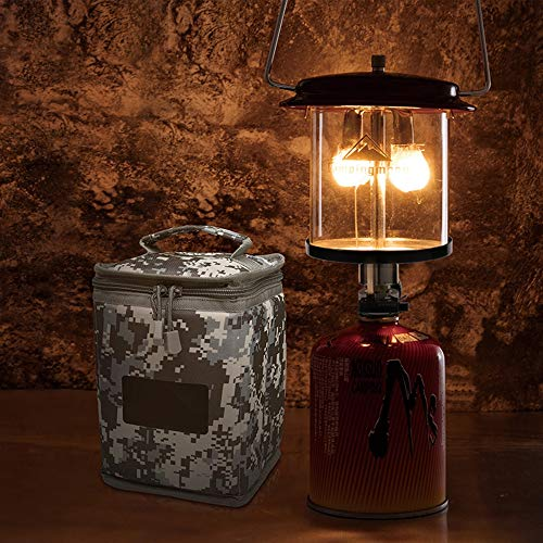 (Outdoor Portable Mini Double Head Gas Lamp Camping Lantern Tent Lamp Torch Hanging Glass Lamp Chimney with Piezo Lighter -)